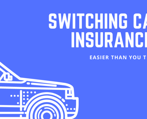 "Blue background with stencil of sedan style car in bottom left. Text, ""Switching car insurance? Easier than you think."""