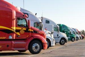 Row of parked semi trucks