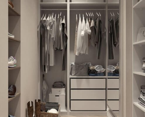A picture of an organized closet