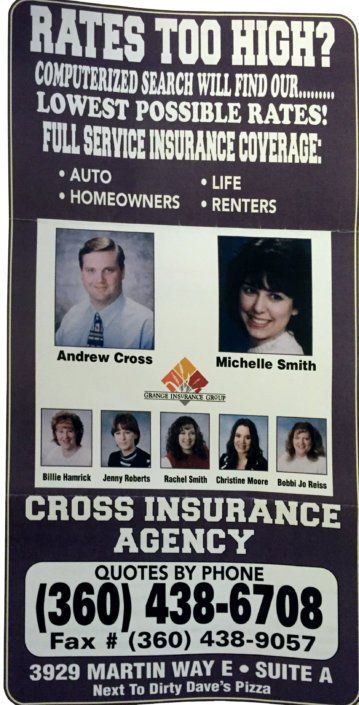 Cross Insurance Agency phone book ad from 2011 with a young Andrew Cross featured.
