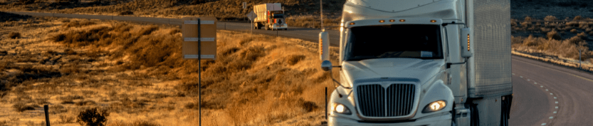 Two long-haul semi-trucks, one very close and partially visible, with another back in the distance. Both driving down an empty highway with tall, wild dry grass growing along the side.