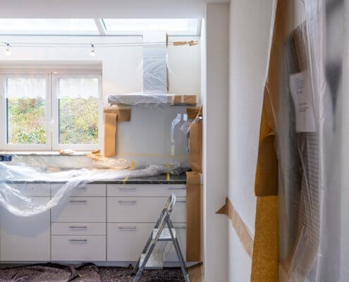 A photo of a kitchen being remodeled